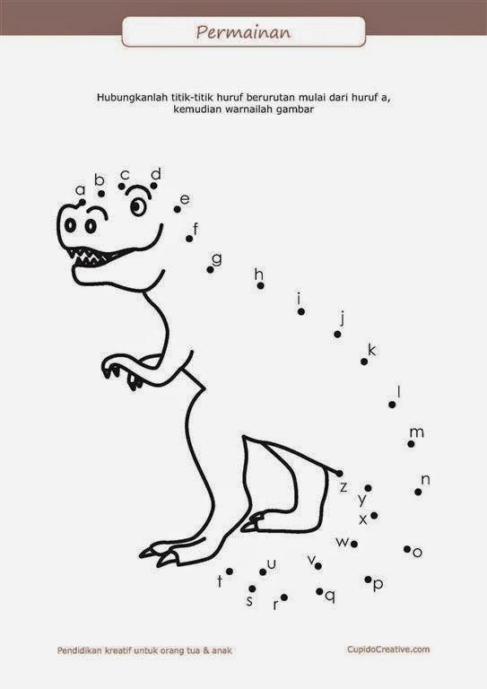 belajar membaca A-Z untuk anak, permainan PAUD (balita/TK), menghubungkan titik, gambar dinosaurus