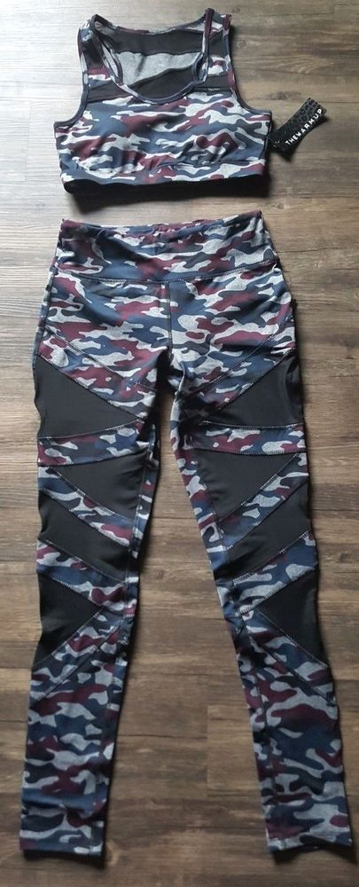5823b5c1f6f7d Jessica Simpson The Warm Up Mesh Camo Leggings Workout Pants Sports Bra Set  Med #JessicaSimpson #LeggingsSportsBra