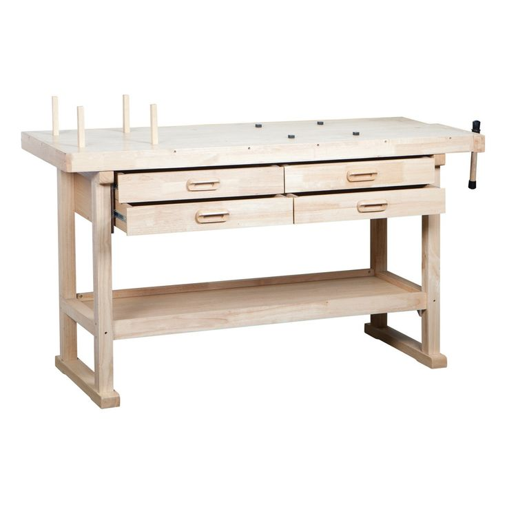 "This work bench features a 60"" solid wood top and four storage drawers, each felt-lined to help protect your fine tools. The work bench also includes a bottom shelf for larger tools as well. A wood block vise is included to enhance usability and a clear lacquer finish protects the top of your shop bench from wear and tear."