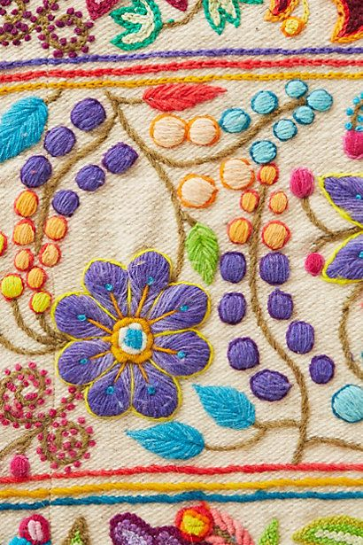 Embroidery table runners and tassels on pinterest