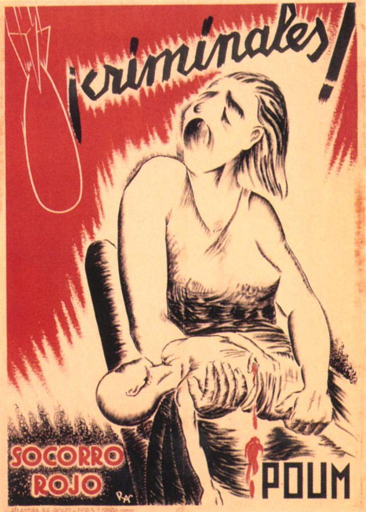 ¡Criminales! (Criminals!) by Ras, 1936. Contributor: Partido Obrero de Unificación Marxista.