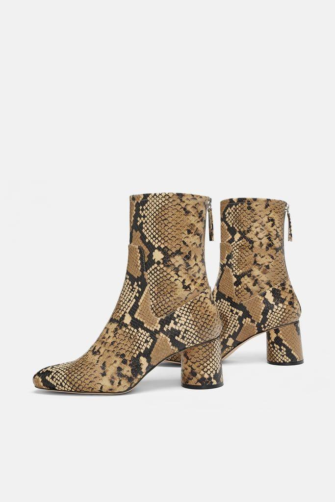 Zara Animal Print High-Heel Ankle Boots