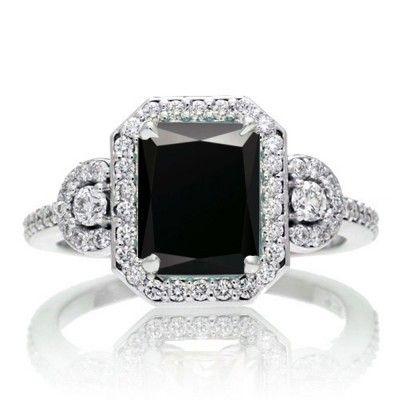 Emerald Cut Three Stone Black Diamond Halo Diamond Ring.