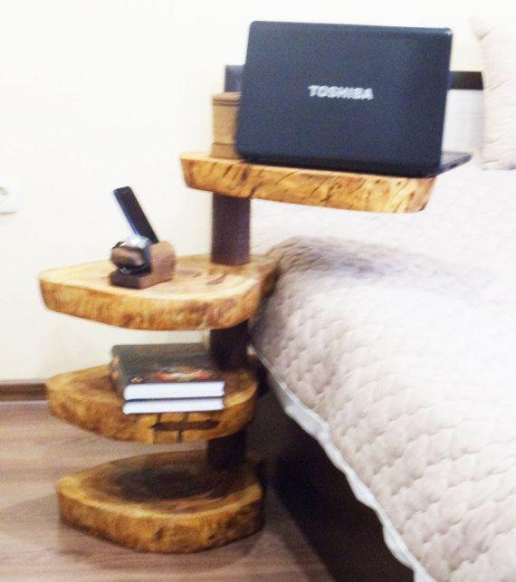 Unieke koffietafel, houten bijzettafel, rustieke salontafel, rustieke Side Table, houten nachtkastje, houten salontafel, vier Tier cake stand