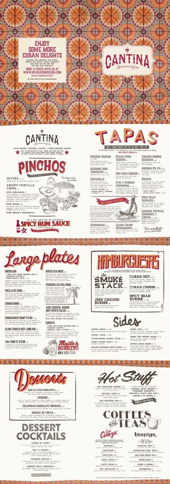 Cuban food menu graphic design illustration typography