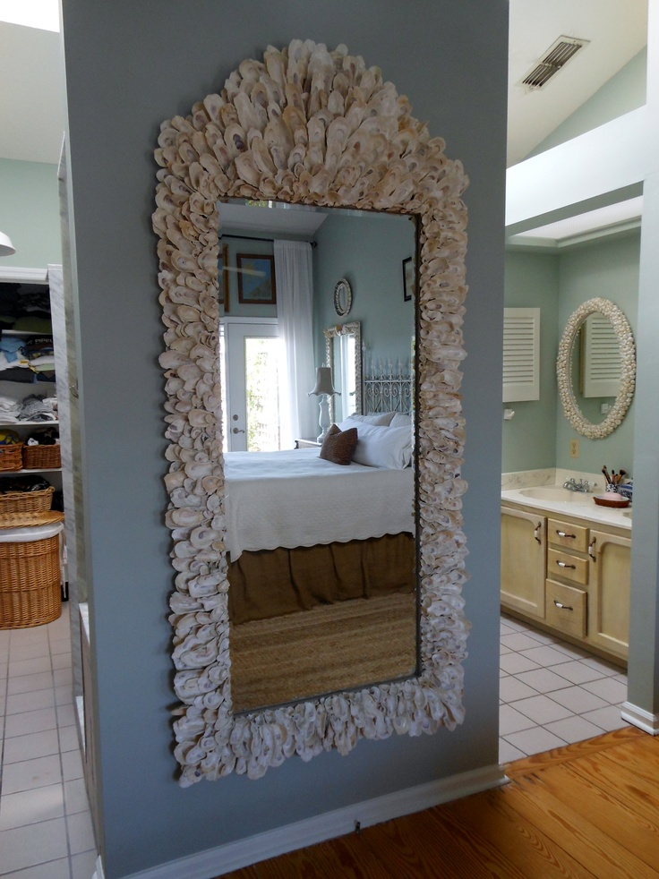 7 ft oyster shell mirror with up cycled glass, yes I need to crop the photo!