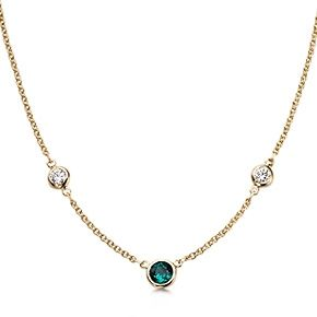 #Tiffany Elsa Peretti® Diamonds by the Yard® necklace with an emerald in 18k gold. // Cool idea for diamond and emerald necklace.
