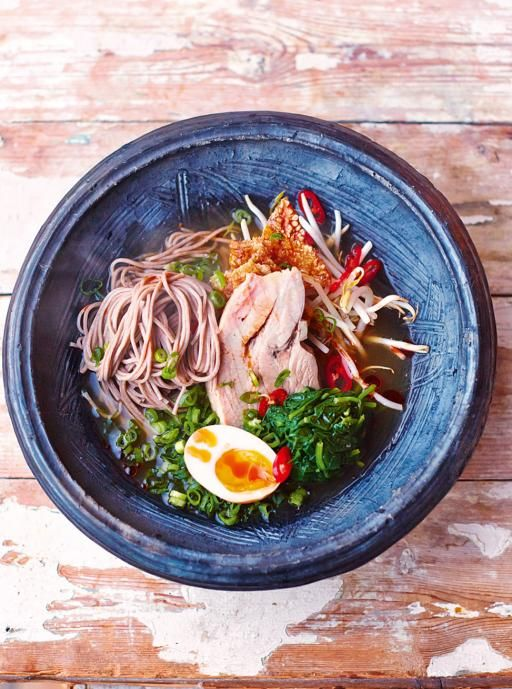 Steaming ramen Ramen is all about investing time to make an incredibly steamy broth, using cheaper cuts of meat and bones for maximum flavour
