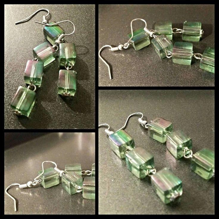 Green cube earrings by Glaetzer Jewellery Kreations  https://m.facebook.com/GlaetzerJewelleryKreations/