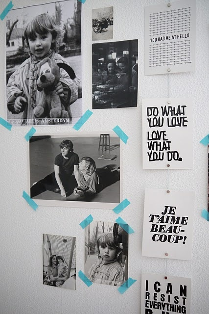 vosgesparis.com picture wall in my home with family pictures and therese sennerholt post cards on a metal wire cableholder #washi #tape