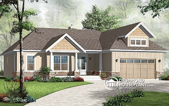 house plan w3226 v1 one floor panoramic view house cozy bungalow with 3 bedrooms and one. Black Bedroom Furniture Sets. Home Design Ideas