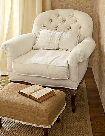 chair: White Chairs, Shabby Chic, Burlap Ottomans, Reading Corner, Reading Nooks, Foot Stools, Reading Chairs, Reading Spots, Good Books