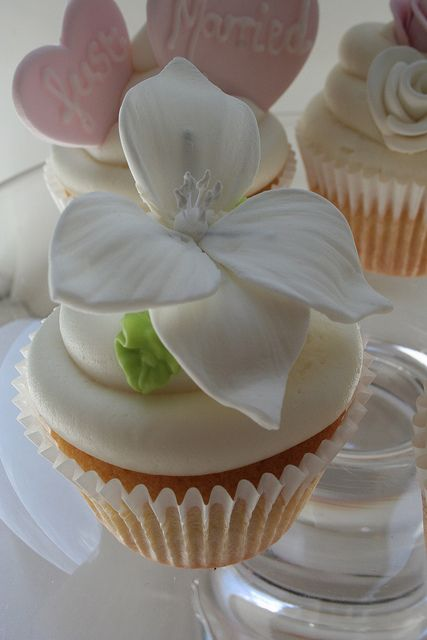 Beautiful sugarpaste white flower topped this wedding cupcake  @Jenn L Lewis - love this flower too- in black with white center? on white icing