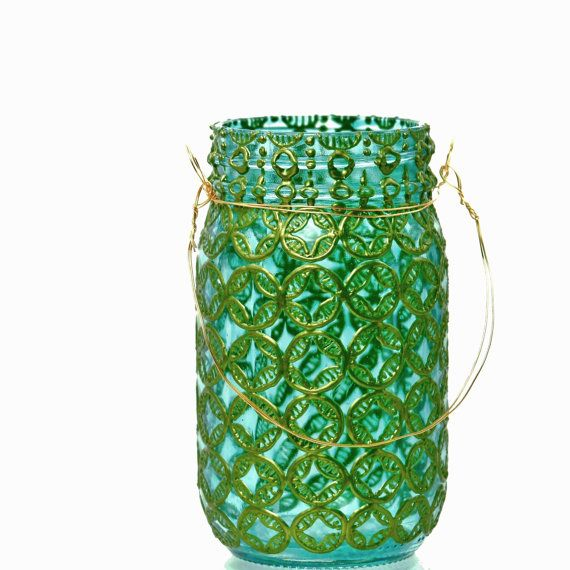 Mason Jar Lanterna, vetro turchese con citrini accenti metallici di dipinta a mano
