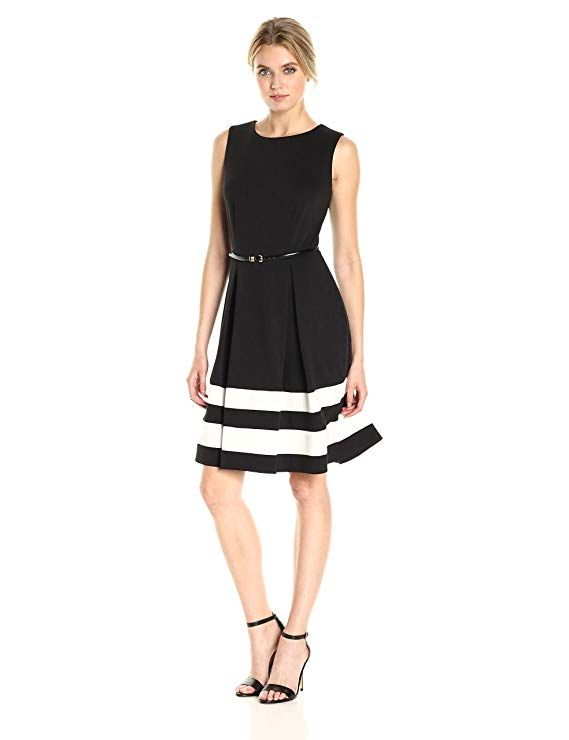 9574be24 Amazon.com: Calvin Klein Women's Fit-and-Flare Dress with Belted Waist