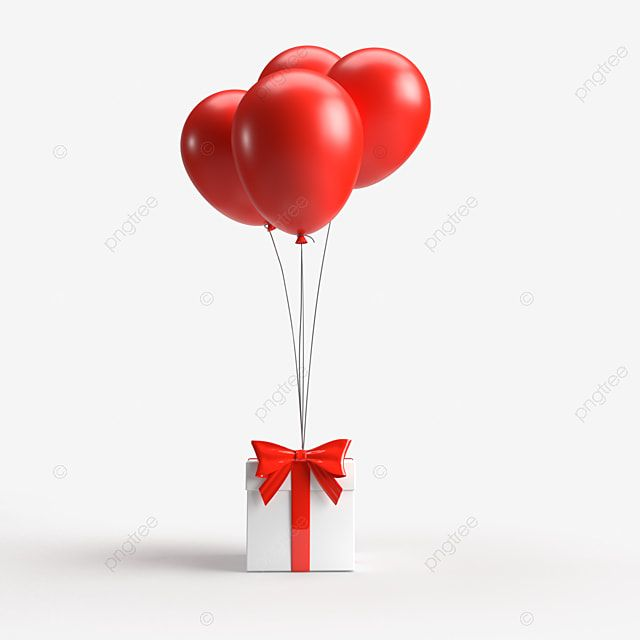 تقديم ثلاثي الأبعاد لصندوق هدايا وبالونات على خلفية شفافة بالونات قصاصات فنية احتفال هدية مجانية Png وملف Psd للتحميل مجانا Caixa De Presente Fundo Transparente Png Balao