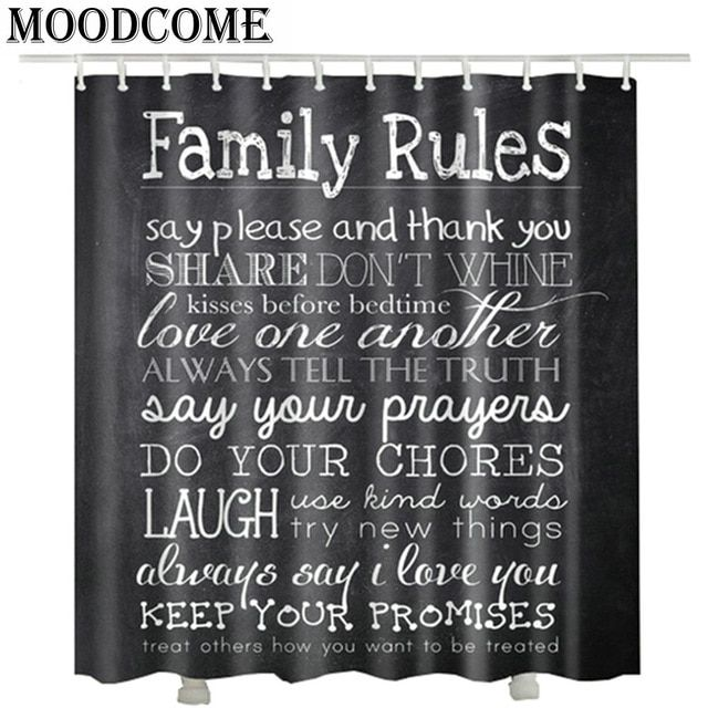 Blackboard Family Rules Shower Curtain Cortinas De Bano Vintage