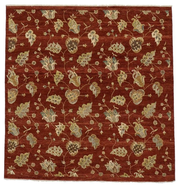 Modern Indian Rug with Floral Pattern and Transitional Style, Square Rug | From a unique collection of antique and modern indian rugs at https://www.1stdibs.com/furniture/rugs-carpets/indian-rugs/
