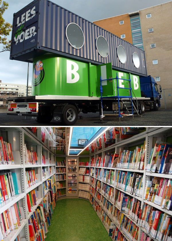 BiebBus, a Dutch mobile library for kids built out of an old shipping container.