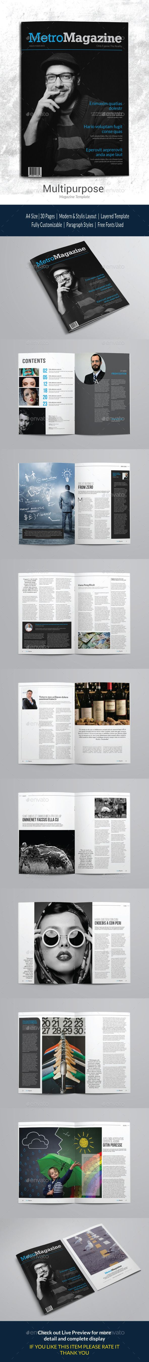 Indesign Magazine Template  #newspaper • Click here to download ! http://graphicriver.net/item/indesign-magazine-template/11803437?s_rank=258&ref=pxcr