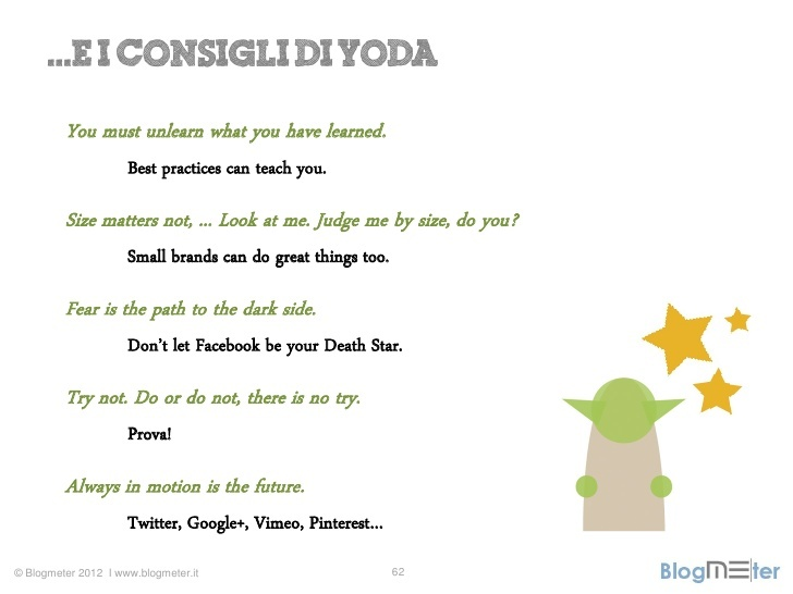 Categorie di prodotto sulle pagine Facebook italiane: I consigli di Yoda  Dalla presentazione Would You Be My Fan al Social Case History Forum   http://www.slideshare.net/Blogmeter/would-you-be-my-fan-categorie-di-prodotto-sulle-pagine-facebook-italiane
