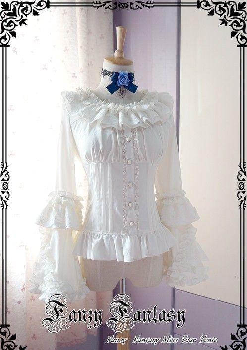 ★★★ Pre-order: Fanzy Fantasy Miss Tear Music Theme Fan Sleeves Lolita Blouse ★★★ Learn More: http://www.my-lolita-dress.com/fanzy-fantasy-miss-tear-music-theme-fan-sleeves-lolita-shirt-fw-4