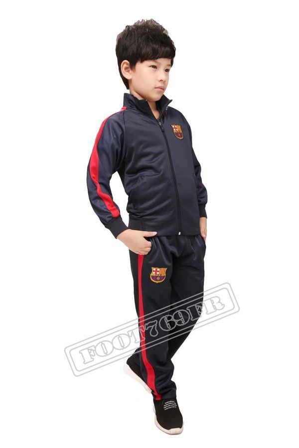 Nouveau: Veste de Foot Enfant kit FC Barcelone Noir 2016 2017 | veste survetement