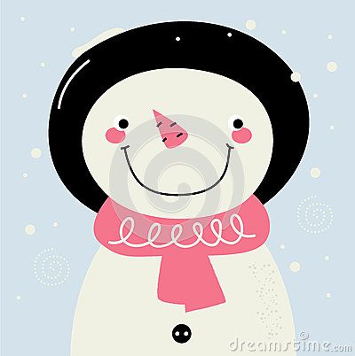 Cute Snowman. Vector cartoon Illustration