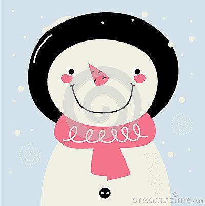 Cute Snowman. Vector cartoon Illustration