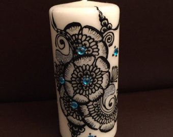 Tall henna candle in Gold, only one available of the design.