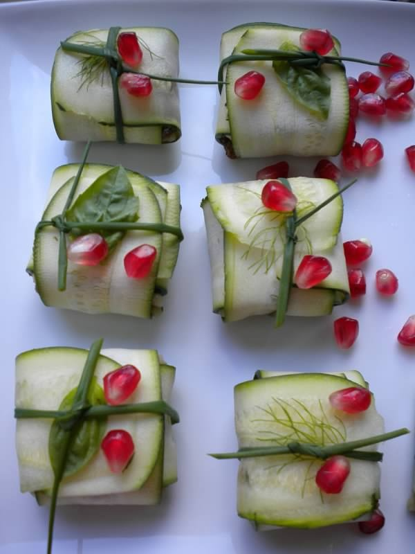 Mediterranean Baskets (appetizers): Raw zucchini wrapped around hummus or Babaganush and your choice of vegetables. By Valerie Adair.