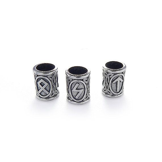 Viking Runes beads. Beads for Beards or Hair.  Sterling por RuyaN