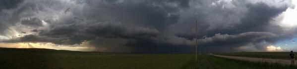Panorama photo of beautiful High Plains supercell SW of Pine Ridge, SD as #tornado warning was issued