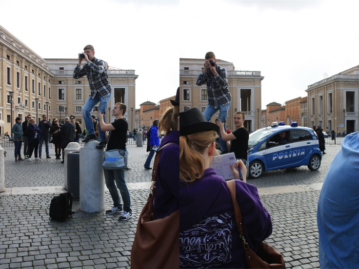 En alternativ, og åbenbart ikke tilladt, måde at fotografere på ved vatikanet. - Michlas