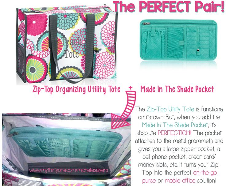 With this pair, you'll have it made in the shade! Add the Made In The Shade Pocket to the Zip-Top Organizing Utility Tote for the PERFECT PAIR!