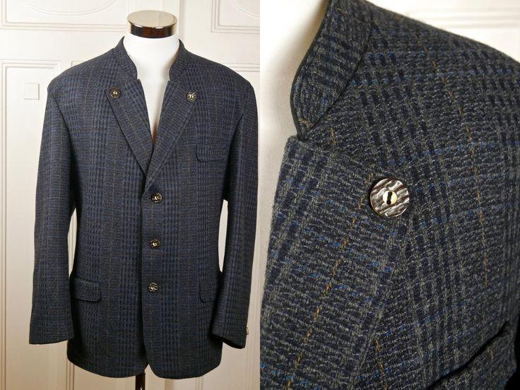 Vintage Trachten Jacket, Austrian Gray Blue Gold Wool-Blend Bavarian Blazer w Faux Antler Buttons, Octoberfest Jacket: Size XL (44 US/UK) by YouLookAmazing on Etsy