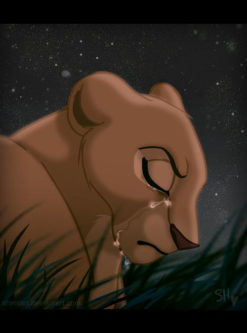 Nala. I love this picture because you can see in her express how strong she is, but how badly she's hurt. OH THE FEELS.