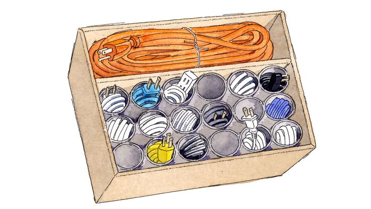 Coil spare chargers, cables, and extension cords inside cardboard toilet-paper rolls — and store them upright in a box to prevent tangle meltdowns. Inspired by a post on instructables.com. James Noel Smith  - Redbook.com