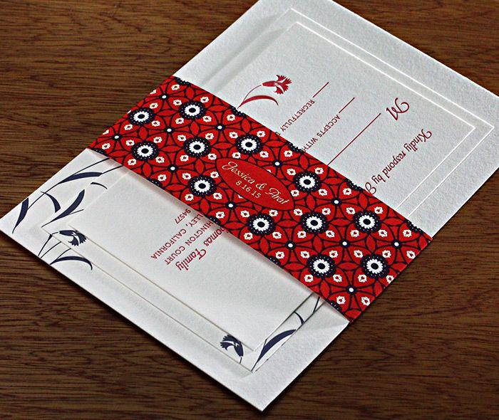 Formal turkish tulip wedding invitation set with matching monogrammed belly band.  | Invitations by Ajalon | invitationsbyajalon.com
