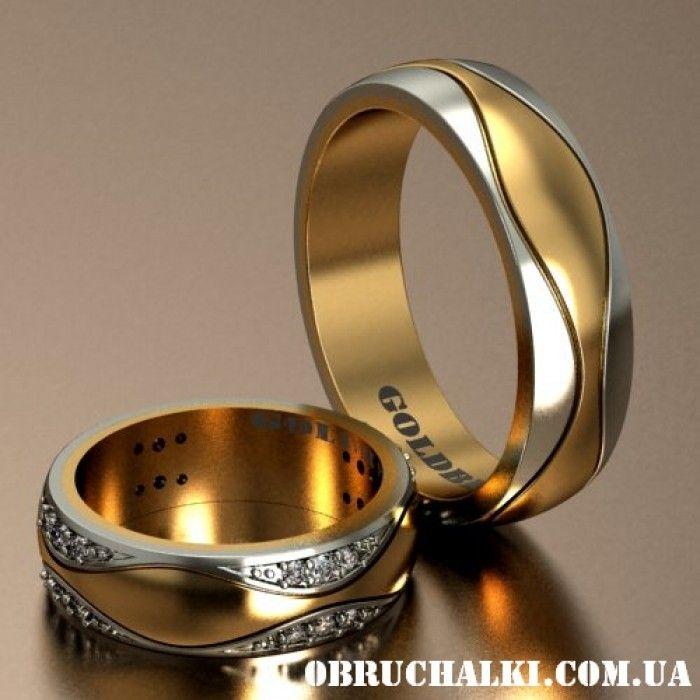 """""""Бергамо"""" - двухцветные обручальные кольца с рисунком волной"""