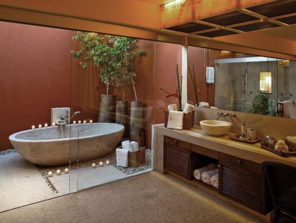 Bathroom: Outdoor Bathroom Design With Natural River Stone Bathtub Design With Sliding Glass Door And Wooden Bath Drawers: Extraordinary Outdoor Bathroom Design