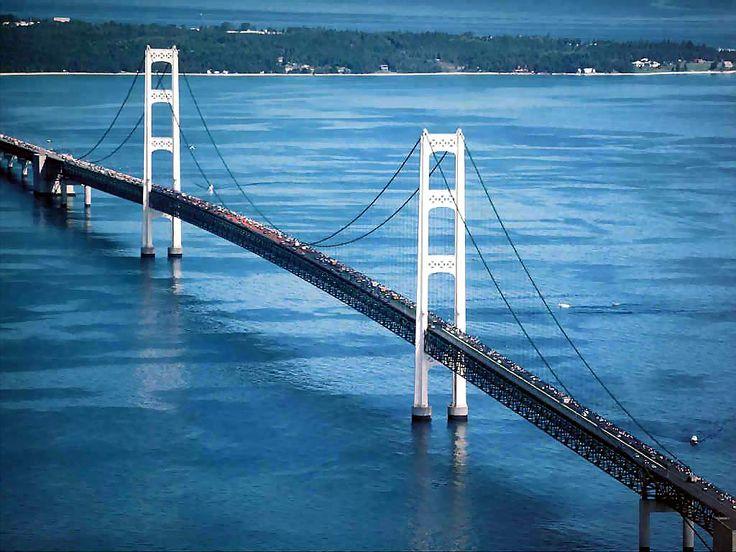 My favorite bridge.... It is connecting Michigan's upper and lower peninsulas......The Mackinac Bridge!