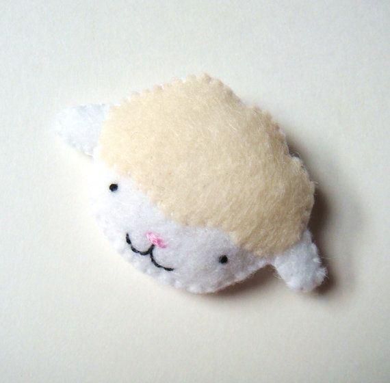 Lamb Felt Brooch Baby Sheep Felt Pin Cream Vanilla by mikaart, $13.99