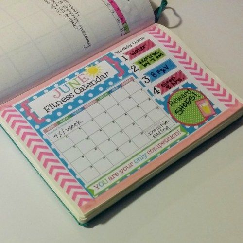 Plan with Me: June Bullet Journal Setup with printable fitness calendar in A5 size.  Perfect for your bullet journal!