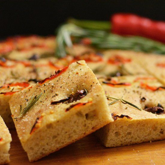 Italian focaccia topped with red chili, kalamata olives and rosemary ...