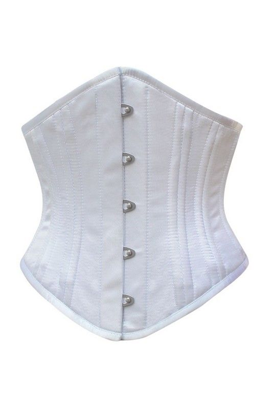 Wit Satin onderborst Taille Training Corset Lady - Ladywear Exclusieve Lingerie