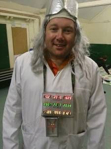 doc brown from Back to the Future costume using Raspberry Pi for Time Circuit and Flux Capacitor.