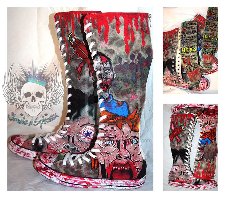 """Limber Up [Zombie Shoes] by JadedSphnix on deviantART  Shoes feature a list of rules from the movie """"Zombieland""""... 1. Cardio 2. Double Tap 3. Beware of Bathrooms 4. Buckle Up 17. Don't Be A Hero 18. Limber Up 31. Check The Back Seat"""