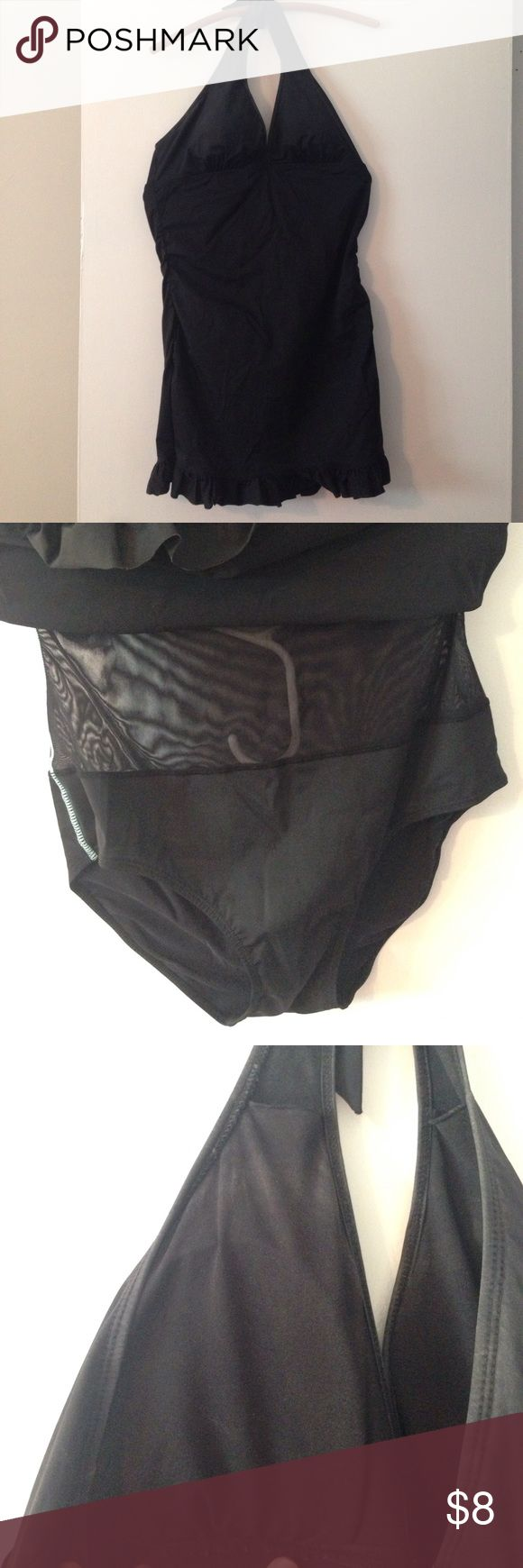 Black skirted spanx swimsuit Spanx/Assets tummy control swimsuit. Underneath is a mesh suit and solid pants with a ruffled and gathered skirt over the top. Wear this with white sunglasses and a straw hat with a black band and look fantastic on the beach! ASSETS by Sara Blakely Swim One Pieces