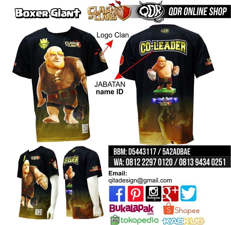 Giant Boxer (Jersey Clash of CLans) Bahan: Dry-fit printing: sublimasi untuk pemesanan: BBM D5443117 / 5A2ADBAE (Qdr online shop) WA/LINE 081222970120 / 081294340251